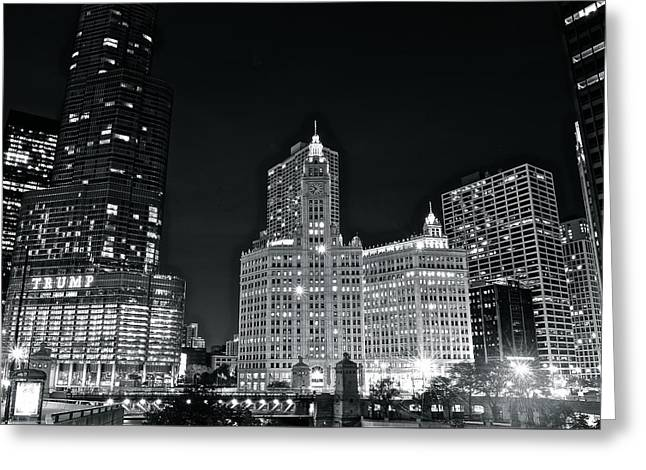 Black And White Night In Chicago Greeting Card by Frozen in Time Fine Art Photography