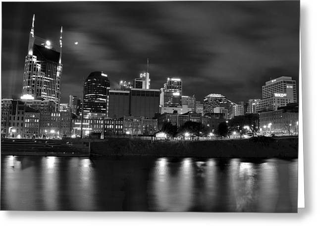 Black And White Night In Nashville Greeting Card by Frozen in Time Fine Art Photography