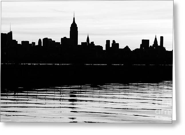 Greeting Card featuring the photograph Black And White Nyc Morning Reflections by Lilliana Mendez