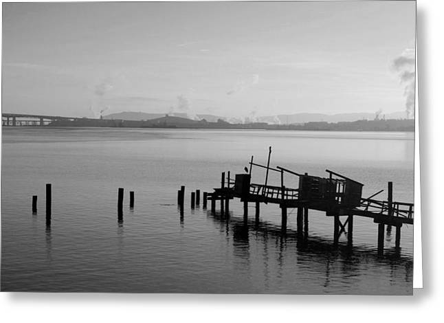 Black And White Oakland Bay Greeting Card by Deprise Brescia