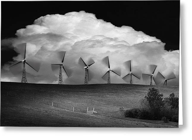 Black And White Of Wind Generators With Greeting Card by Don Hammond