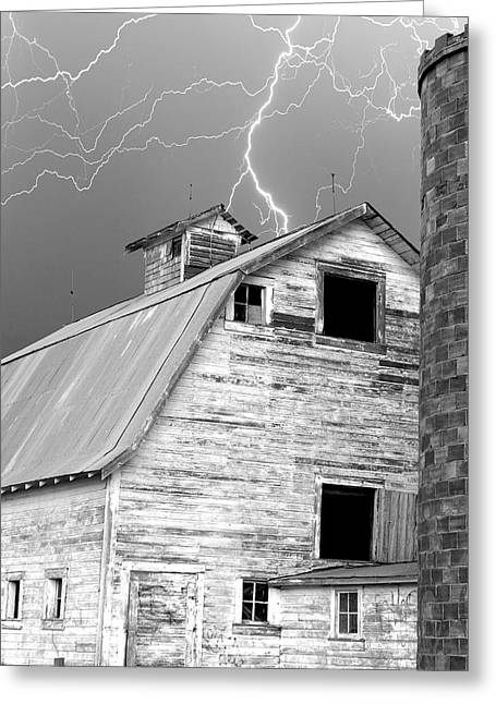 Black And White Old Barn Lightning Strikes Greeting Card