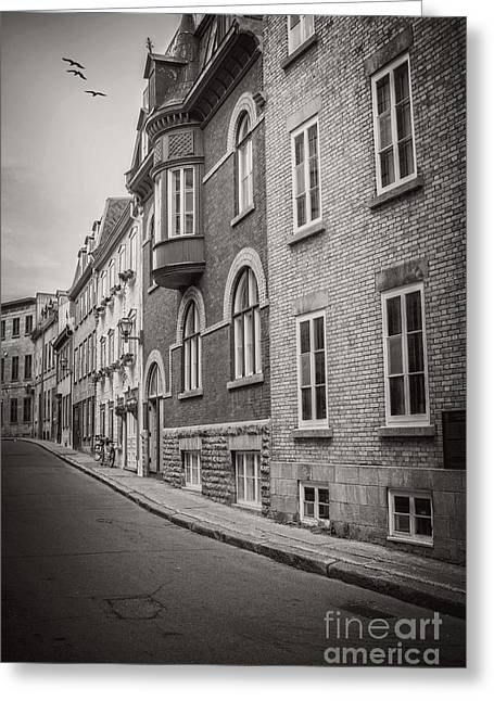 Black And White Old Style Photo Of Old Quebec City Greeting Card by Edward Fielding