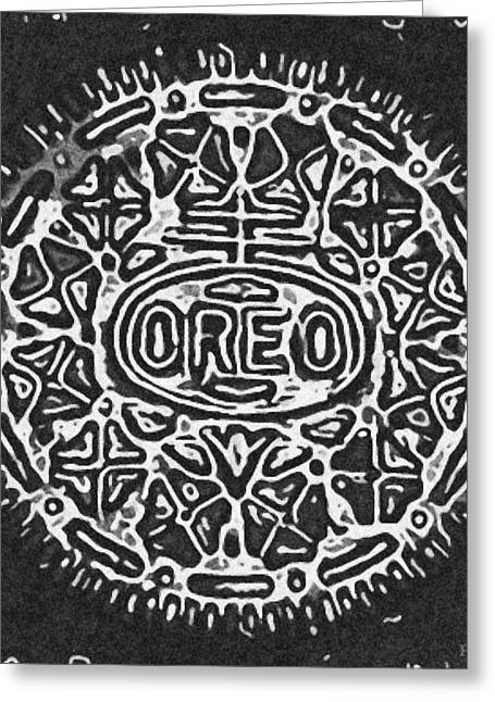 Black And White Oreo Greeting Card by Rob Hans