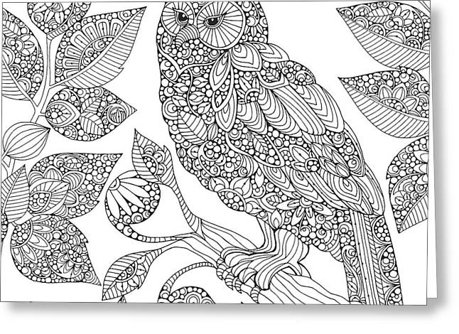 Black And White Owl Greeting Card
