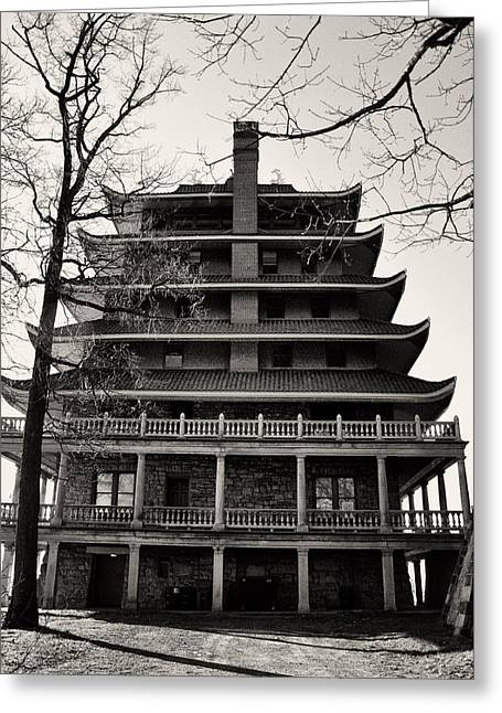 Black And White Pagoda - Reading Pa Greeting Card by Bill Cannon