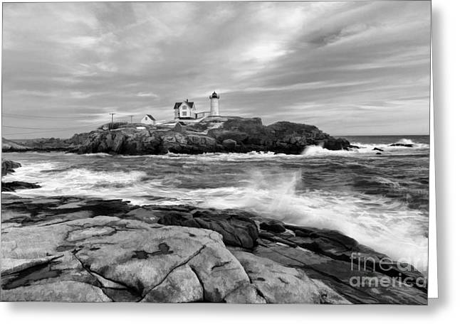 Black And White Painted Seascape Greeting Card