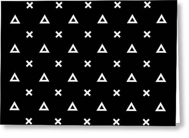 Black And White Pattern Background Greeting Card by Kbibibi