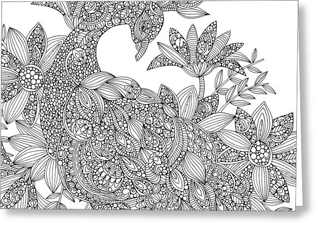 Black And White Peacock Greeting Card by Valentina Harper