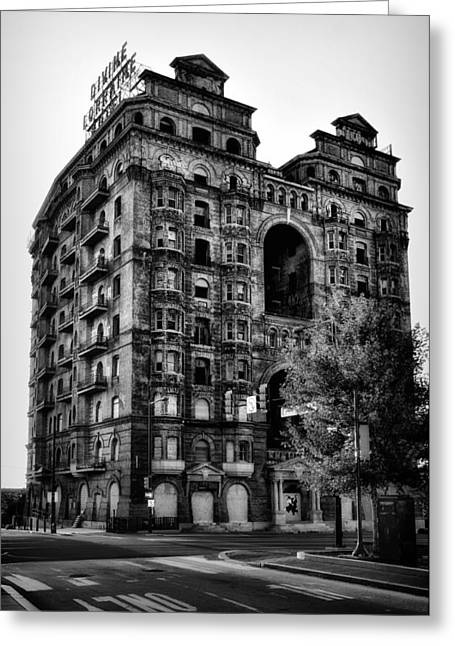 Black And White Philadelphia - The Divine Lorraine Hotel Greeting Card by Bill Cannon