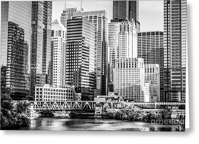 Black And White Picture Of Chicago At Lake Street Bridge Greeting Card by Paul Velgos