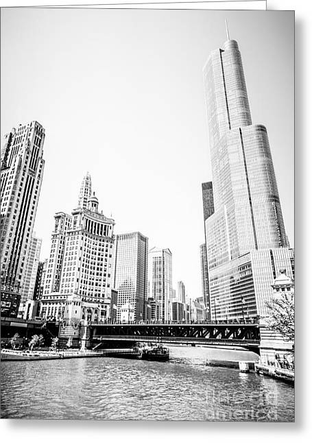 Black And White Picture Of Chicago River Architecture Greeting Card