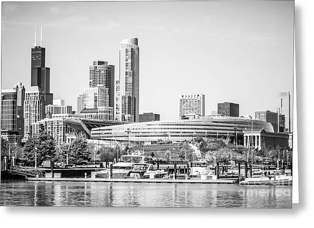 Black And White Picture Of Chicago Skyline Greeting Card by Paul Velgos
