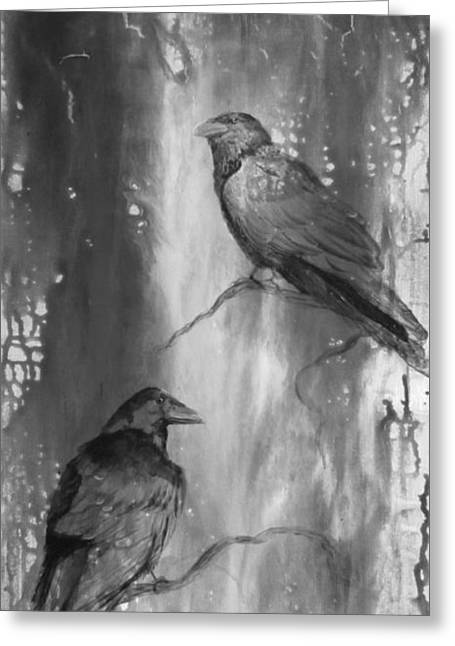Black And White Ravens Greeting Card by Laurianna Taylor