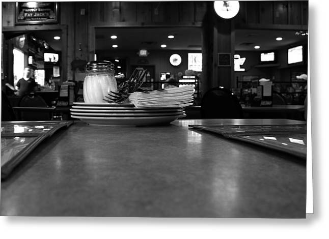 Black And White Restaurant Scene Greeting Card by Dan Sproul