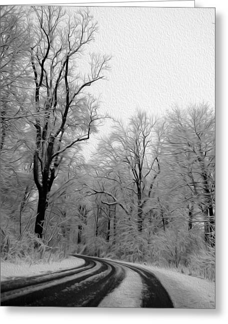 Black And White Road Greeting Card by Tracy Winter