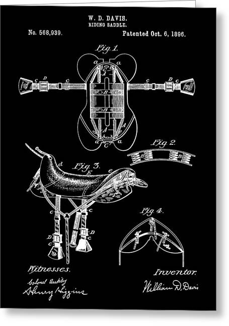 Black And White Saddle Patent Greeting Card