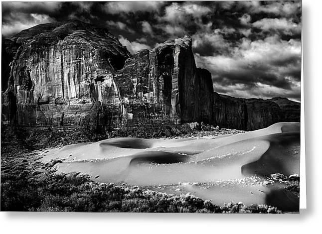 Black And White Sands At Monument Valley Greeting Card