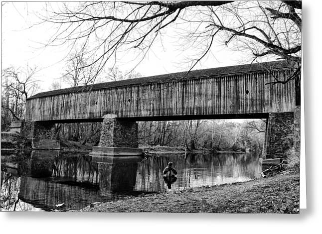Black And White Schofield Ford Covered Bridge Greeting Card by Bill Cannon