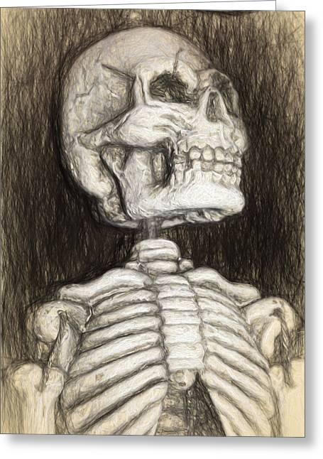 Black And White Skeleton Greeting Card