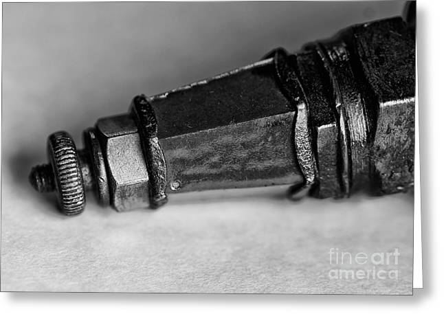 Black And White Spark Plug Greeting Card by Wilma  Birdwell