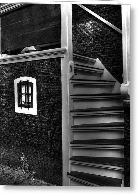 Black And White Stairs Greeting Card by Sophie Vigneault