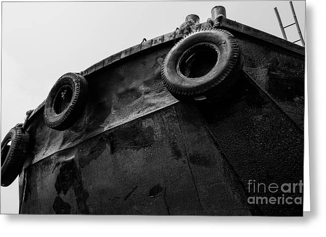 Black And White Stern With Ladder And Tires Greeting Card by Dean Harte