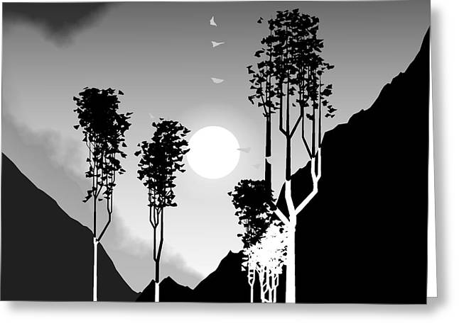 Black And White Trees Greeting Card by GuoJun Pan