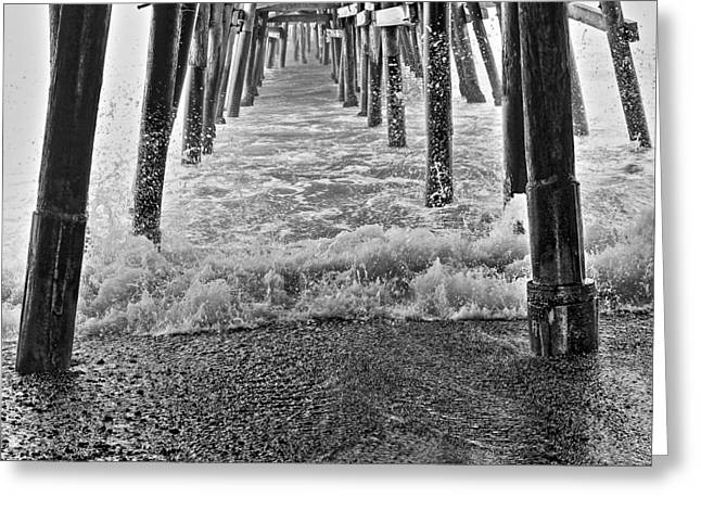 Black And White Under The Pier Greeting Card by Richard Cheski