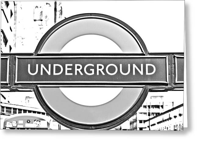 Black And White Underground Greeting Card by Georgia Fowler
