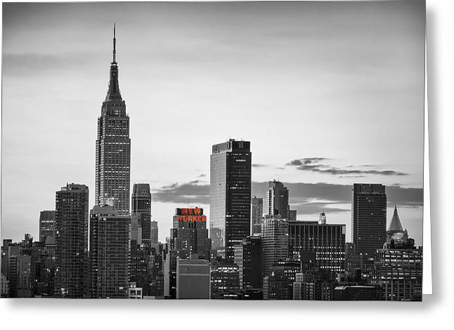 Black And White Version Of The New York City Skyline With Empire Greeting Card by Eduard Moldoveanu