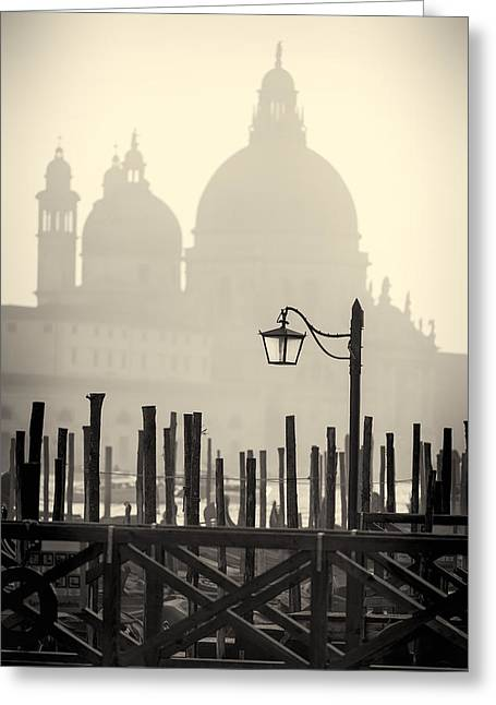 Black And White View Of Venice Greeting Card