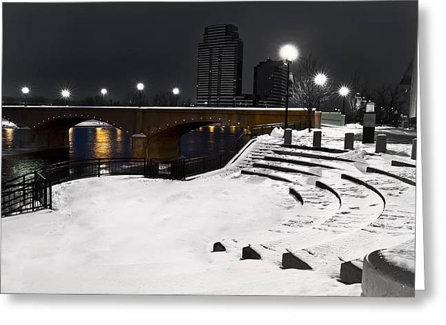 Black And White With A Splash Of River Greeting Card by Evie Carrier