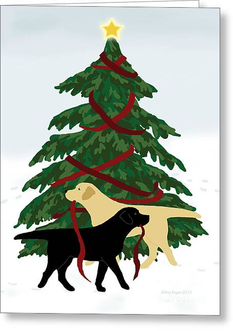 Black And Yellow Labs Trim Christmas Tree Greeting Card