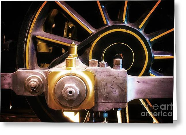 Black And Yellow Loco Wheel Greeting Card by Joseph J Stevens