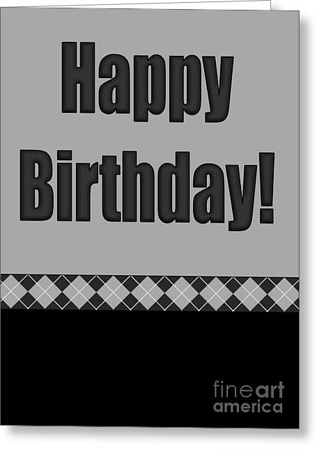 Black Argyle Birthday Greeting Card by JH Designs