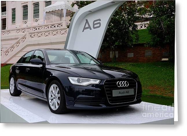 Black Audi A6 Classic Saloon Car Greeting Card
