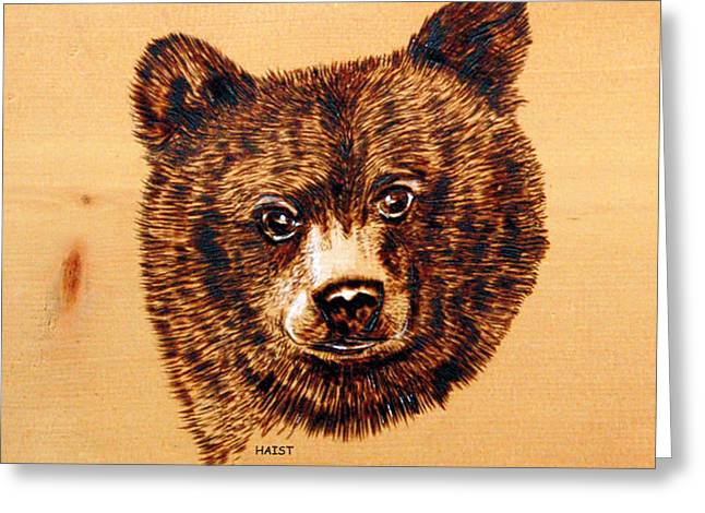 Greeting Card featuring the pyrography Black Bear Cub by Ron Haist
