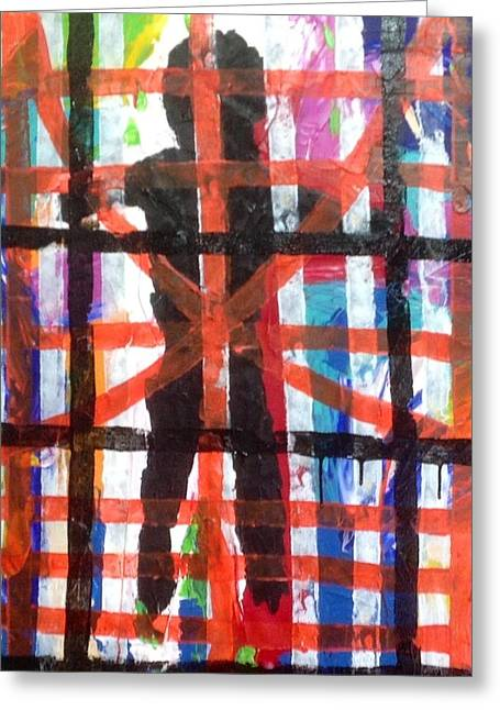 Black Behind Bars Greeting Card by Russell Simmons