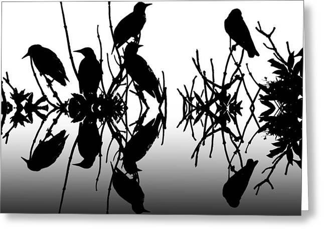 Black Birds Greeting Card by Sharon Lisa Clarke