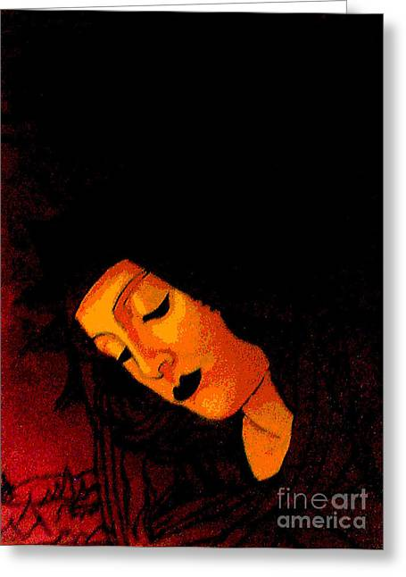 Black Botticelli Madonna Greeting Card by Genevieve Esson