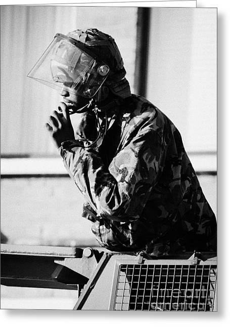 Black British Army Soldier In Turret Of Saxon Vehicle Speaking On Intercom On Crumlin Road At Ardoyn Greeting Card