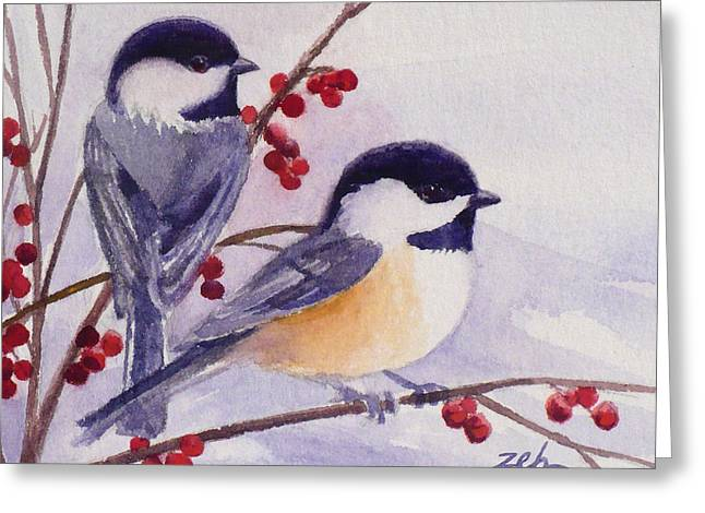 Black-capped Chickadees Greeting Card by Janet  Zeh