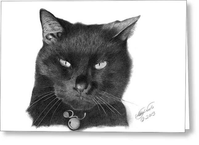 Greeting Card featuring the drawing Black Cat - 008 by Abbey Noelle