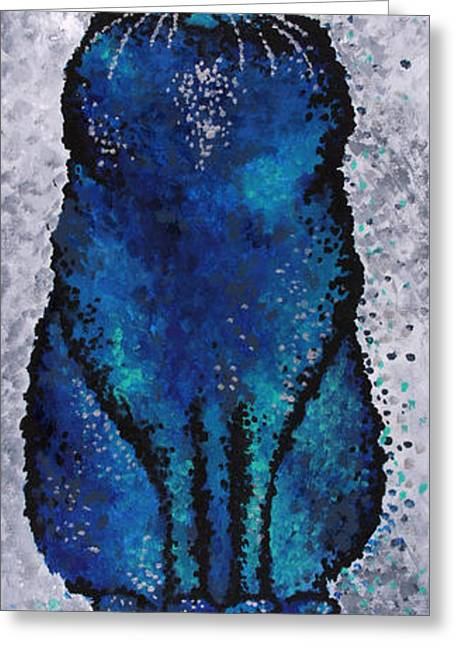 Black Cat Blue Greeting Card by Michelle Boudreaux