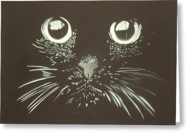Black Cat Greeting Card by Christopher Golding