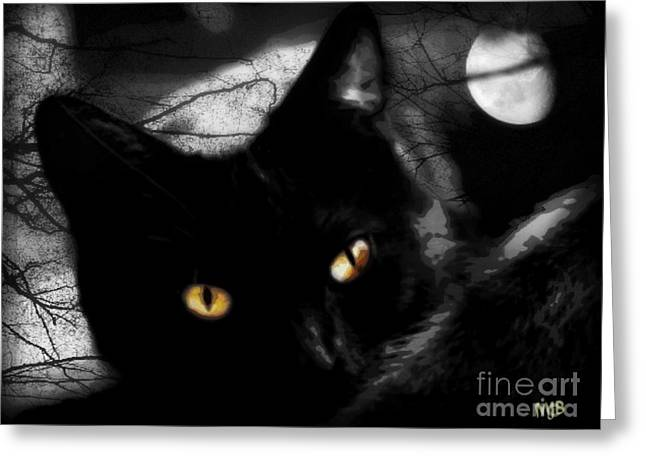 Greeting Card featuring the digital art Black Cat Golden Eye by Mindy Bench