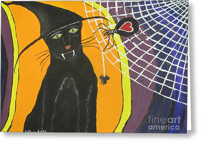 Black Cat In A Hat  Greeting Card by Jeffrey Koss