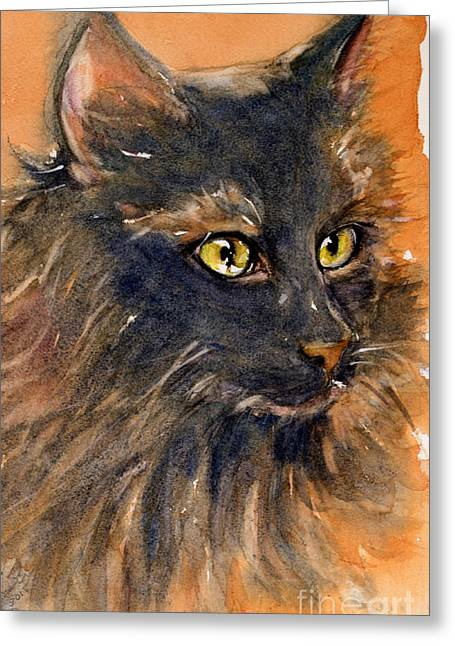 Black Cat Greeting Card by Judith Levins