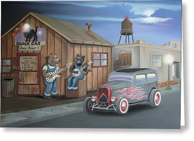 Black Cat Juke Joint Greeting Card by Stuart Swartz